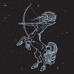 Rearing Centaur holding bow and arrow. Night sky background.