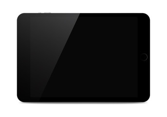 Black isolated tablet with shadow