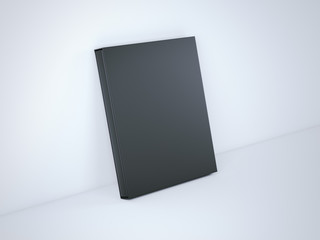 Black book with cover box. 3d rendering