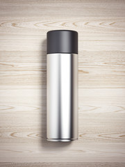 Silver spray can. 3d rendering