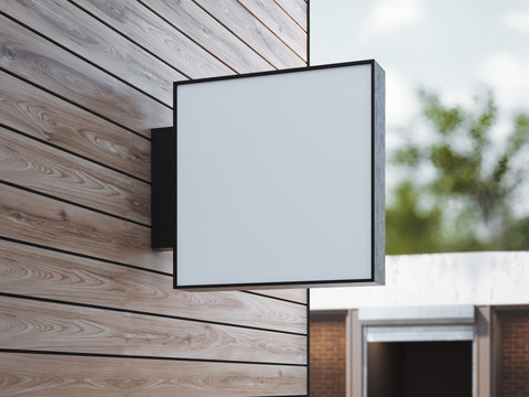 White square signboard on the wall. 3d rendering