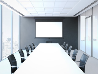 Conference room with white table and black chairs. 3d rendering