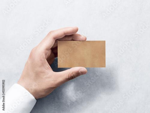 Hand Hold Blank Plain Kraft Business Card Design Mockup Clear Calling Mock Up Template