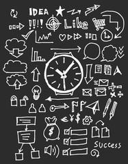 Hand drawn business icon set