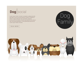 Animal banner with Dog for web design , vector, illustration