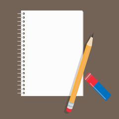Реалистичный блокнот, карандаш и стиральная резинка