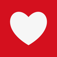 Heart Icon isolated on a red background, vector illustration for web design