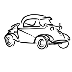 Vintage Concept Car Outline Sketch