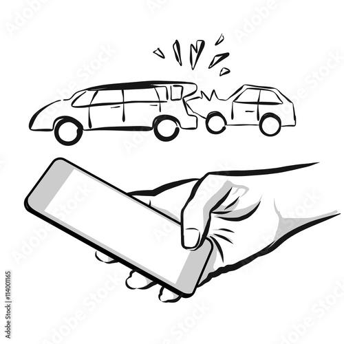 Unfall Versicherung Smartphone Konzept App Skizze\