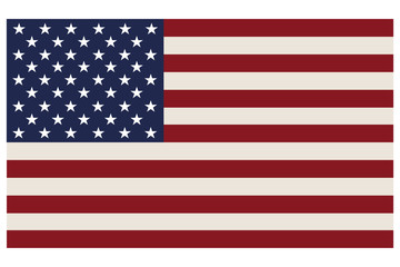American flag official correct proportions isolated on a white background, vector illustration stylish EPS10