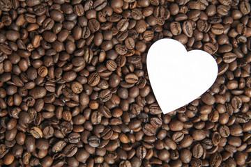 Coffee beans love, heart on coffee beans