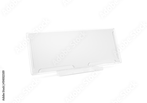 Plastic Paper Holder Mock Up Stand On Desk Isolated Nameplate Glass Banner Mockup Acrylic