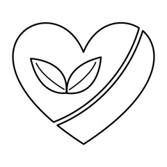 heart with leafs  isolated icon design