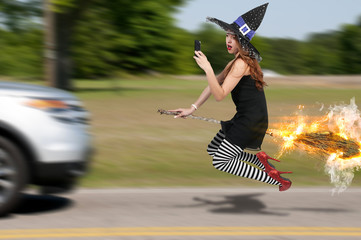 Wicked Witch Texting and Flying