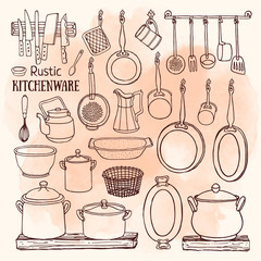 Sketch of pots, pans on watercolor background in country style