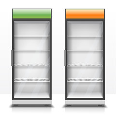 Two empty vertical refrigerators with transparent front panels