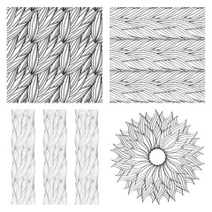 Seamless vector pattern of interwoven leaves and a circular pattern.