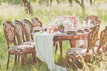 decorated for wedding elegant dinner table outdoors