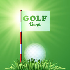 Golf ball, green grass, flag. Sport design. Golf time. Workshop