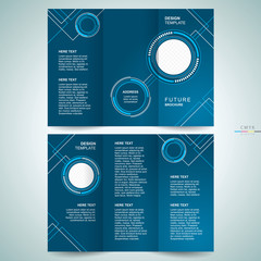 brochure design template tri-fold futuristic hi-tech