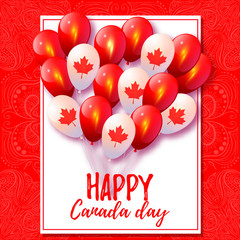 Canada Day. Background with balloons in national colors of the C