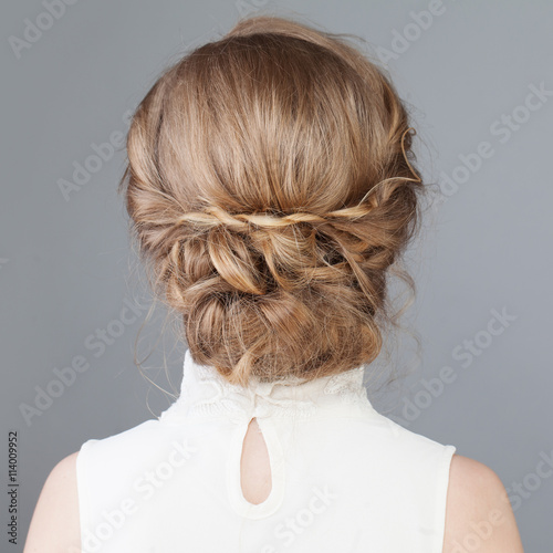 Female Back Bridal Or Prom Hairstyle Stock Photo And Royalty Free