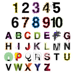 Set of artistic colorful modern decorative letters and numbers isolated on white background