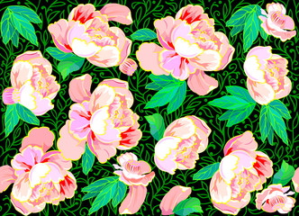 Seamless pattern with flowers, vector cartoon image.