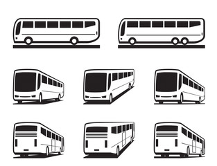 Tourist buses and coaches - vector illustration