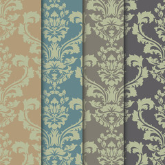 Vector floral damask ornament patterns set. Elegant luxury textures for textile, fabrics or wallpapers backgrounds. Trendy colors