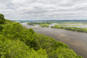 Mississippi River Scenic View with Barges