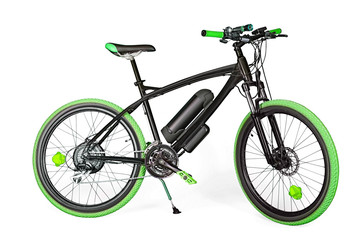 Black and green electric bike