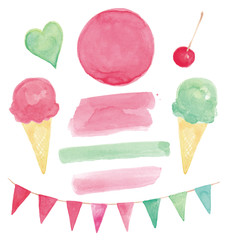 Watercolor Bunting and Summer Ice Cream Design Elements Vector Set