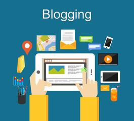 Blogging illustration concept. Blogging on mobile phone concept.