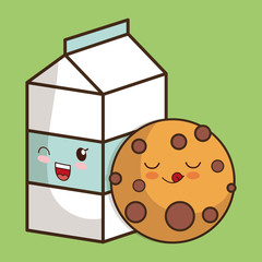 Breakfast design. Kawaii milk and cookie  icon. Vector graphic