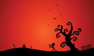 Scenery with Halloween zombie and bat