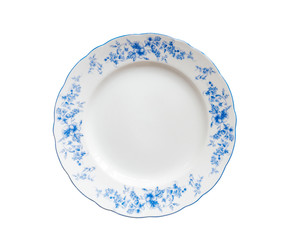 Plate, decorated with blue flower painted, isolate on white background