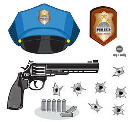 gun or pistol illustration with bullets, hat, emblem and hole, isolated