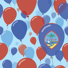 Guam National Day Flat Seamless Pattern. Flying Celebration Balloons in Colors of Guamanian Flag. Happy Independence Day Background with Flags and Balloons.