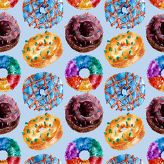 Seamless pattern with delicious donuts. Watercolor illustration.