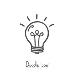 Bulb. Hand Drawn Doodle Icon.