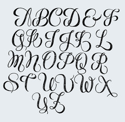 Hand written calligraphy vintage romantic font. Black letters