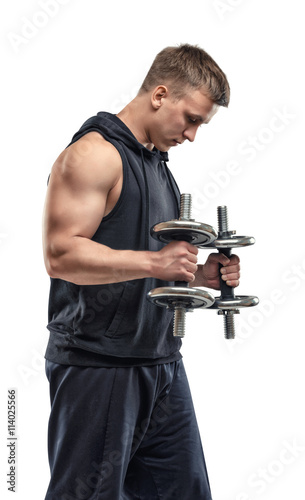 Coutout sportsman lifting a dumbbell for training his for Exterieur biceps