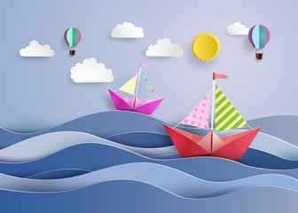 l paper sailing boat and balloon