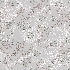 Pattern on gray background \ Hand drawn watercolor pattern seamless pattern. Natural tones and pastel colors print repeats for textile, Wallpaper, etc