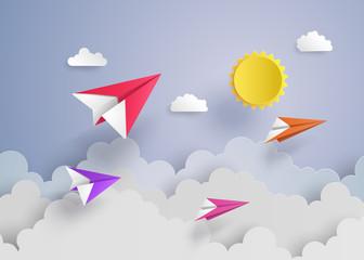 paper plane on blue sky