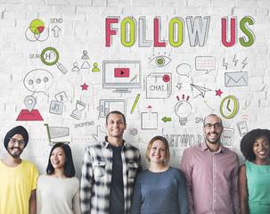 Follow Us Social Network Connect Social Media Concept