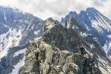 Scrambling for a difficult ridge.