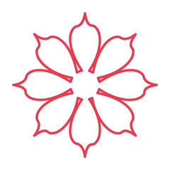 red line flower icon