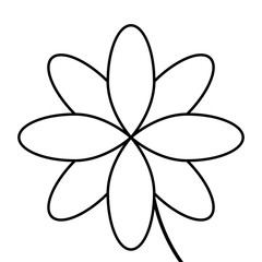 black line flower icon